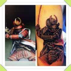 Realistic Samurai tattoo to start a Japanese sleeve