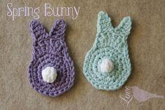 Cute little easter bunnies to crochet.  Love The Blue Bird: Spring Bunny Tutorial...