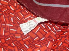 Signed, Made in Italy, 100% Polyester, Red / White Color Block Ladies Scarf #Handmade #Scarf