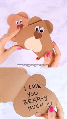 Heart Bear Craft – Valentines Day Card Idea-Heart Bear Craft – Valentines Day Card Idea This cute DIY card is made entirely out of hearts – well eyes excluded which makes it a perfect Valentine's day card. Valentines Day History, Valentines Day Gifts For Friends, Funny Valentines Cards, Valentines For Kids, Valentine Gifts, Valentines Ideas For Preschoolers, Cute Valentines Day Ideas, Bear Valentines, Valentine Hearts