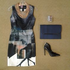 #Lookoftheday!!! @angelysbalek Titanium print dress, @zenzii multi strand necklace, @bcbgmaxazria Conrad zipper back pump, silver cut out bracelet and @bcbgmaxazria Downtown Days cobalt skin clutch..#graphicprints #edgy #aboutalook #shoplocal,#ootd