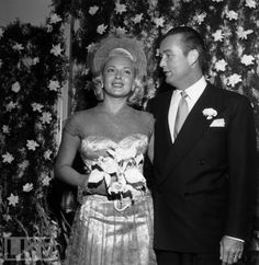 Lana Turner with husband No. 4, Bob Topping. He proposed by dropping a diamond ring in Lana's martini at the 21 Club, and they married in 1948. They divorced in 1952.