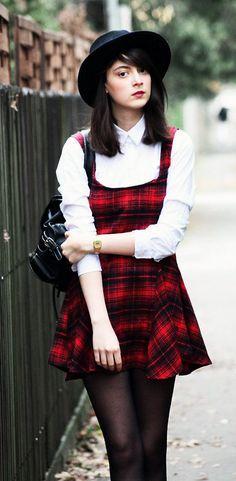 Red Plaid Sleeveless Dress - US$ 14.00  /// LuckyMelli.com