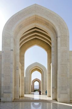 Imposing marble archways dominate at the Sultan Qaboos Grand #Mosque in Oman