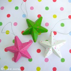I picked up these brightly coloured dotty paper star decorations whilst I was shopping in Tesco. I think they will go perfectly with my Candy Sweet inspired Christmas. Star Decorations, Christmas Decorations, Christmas Ornaments, Holiday Decor, Candy Sweet, Paper Stars, Pastel, Decor Ideas, Color