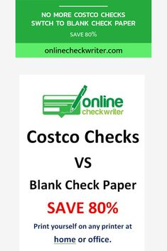 Switch Costco checks or pre-printed checks. Get Blank check paper - print checks online on demand. Cost a fraction and never run out of checks. Order Checks Online, Payroll Checks, Blank Check, Writing Software, Bitcoin Faucet, Write Online, Check Email, Cheque, Business Checks