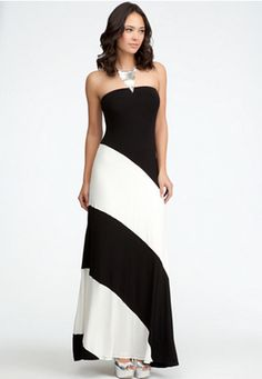 Colorblock Strapless Maxi Dress #bebe #summer #musthaves