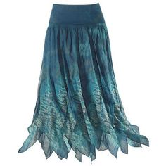 """Blue Pixie Skirt  Aptly named! Flitting, flirtingeven spinningcome naturally in this playful, tie-dyed skirt! Sprightly, pointed panels flare from the jersey-knit, rollover waist. Lined. 100% cotton. Hand washable. Imported. Color: Blue/Teal. Sizes: S (2-4), M (6-8), L (10-12), XL (14-16), 1X (18), 2X (18W), 3X (20W); 34 1/2"""" long (approx.)."""