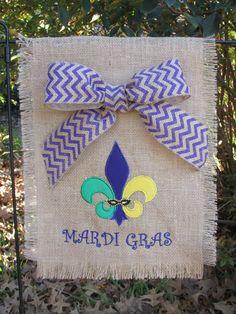 Burlap Mardi Gras Garden/Yard Flag with Chevron Bow on Etsy, $25.00