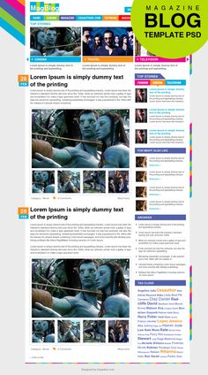This template is for magazine blog. Three big spots on the top give the ideas of different topics and hot spots, while the larger image spot of this psd gives more information and a close-up to the topic picked. Also, various links are provided at the side of template to divert readers to other pages if desired.