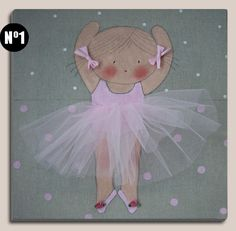 Cuadros infantiles: bailarina - Cuadro pintado a mano sobre bastidor de madera de 40 x40 cm, entelado con lino color piedra. Aplicaciones: Tutú de tul, lazos en coletas y florecitas en las zapatillas.