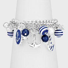 Navy Blue & White Silver Striped Anchor Charm Bracelet Nautical