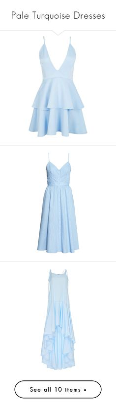 """""""Pale Turquoise Dresses"""" by tegan-b-riley on Polyvore featuring dresses, body con dresses, blue party dress, midi dress, bodycon party dresses, blue dress, v neck midi dress, light blue polka dot dress, v-neck dresses and cutout dresses"""
