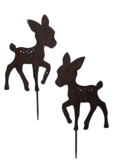 Reh Kitz 33 cm hohe Silhouette Schmiedeeisen in Antik Rost Design 2 Stück