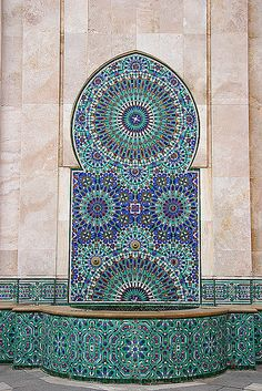 Very unusual coloration for Moroccan mosaic zellij tiling, particularly the aqua color. Casablanca, Morocco.  For more info on Moroccan tiling and patterns, check out my book, Marrakesh by Design:  http://www.amazon.com/Marrakesh-Design-Maryam-Montague/dp/1579654010/ref=zg_bs_48_34