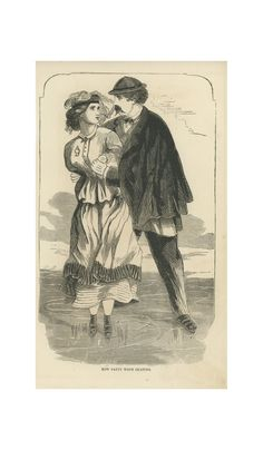 1865 Peterson Ladies Magazine Print, How Patty Went Skating, Man And Woman Ice Skating On A Pond.