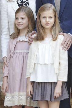 Infanta Sofía and Infanta Leonor, Princess of Asturias. Spanish Royals Attend Easter Mass in Palma de Mallorca on April 5, 2015