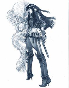"""""""Talia al Ghul"""" - Commission, Boston Comic Con 2015. Pen & ink, Copic marker. 10x14″."""
