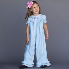 Light Blue Corduroy Smock Nativity Romper