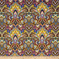 Michael Miller Indian Summer Gypsy Heart Jewel from @fabricdotcom  From Michael Miller Fabrics, this cotton print collection features a motley of bold, beautiful colors, and bohemian and abstract prints. Perfect for quilting, apparel, and home decor accents. Colors include black, blue, olive, magenta, periwinkle, turquoise, pink, orange, and white.