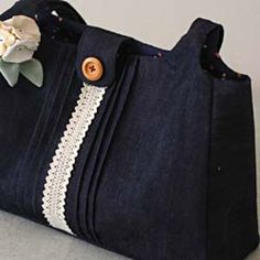Denim Bag with Fabric Corsage