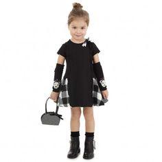 Simonetta Black and White Viscose Dress   CHILDRENSALON