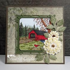 A Path of Paper: Heartfelt Creations Covered Bridge Daisy Patches, Bridge Card, Heartfelt Creations Cards, Card Creator, Christmas Card Crafts, Ppr, Butterfly Cards, Covered Bridges, Pretty Cards
