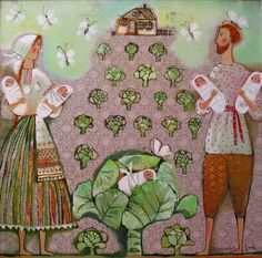 """""""Founв in the Cabbage"""" 2006. 65х65cm. Oil on canvas"""