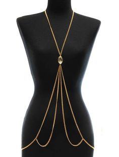"""Long 26"""" gold tone multi strand necklace/body chain with stoneLead and nickel compliant"""