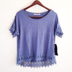 | new | lace trim tee offers welcome new with tag size extra small blue-grey crochet lace trim tee. •971067•  instagram: @xomandysue Tops Tees - Short Sleeve