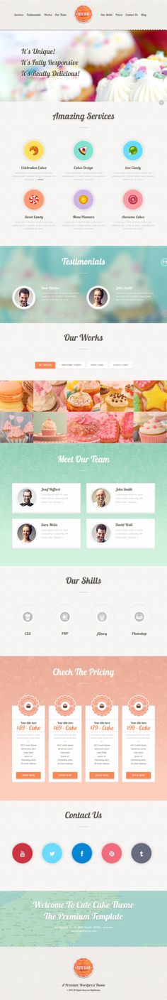 Cute Cake – Responsive One Page WordPress Theme