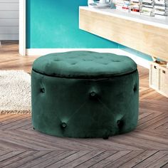 Round Storage Pouffe in Teal - Cleo Range Ottoman Stool, Ottoman Storage, Bedroom Ottoman, Book Storage, Foot Rest, Plush, Teal, Range, Velvet