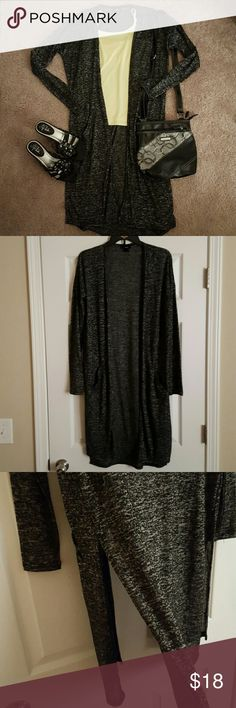 Black and gray duster cardigan! Super cute black and gray duster cardigan! Has side slits and small pockets. Adorable with leggings! In excellent condition! All items in the covershot are for sale (see separate listings). Mossimo Supply Co. Tops