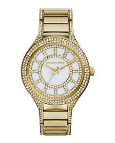 Mid-Size Golden Stainless Steel Kerry Three-Hand Glitz Watch, Women's, GOLD - Michael Kors