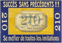 "Savon Surfin / 39 x 34 in (99 x 86 cm) / Unprecedented success!!  ""Hygenic French Soapmaker  Superior Soap  Eau de Cologne  Triple Extract  Be wary of all imitations  The gorgeus blue and gold print for P. Tranoy - the soapmaker - showcases the elegance and refinement of the soap in its ornate detailing and delicate calligraphy. """