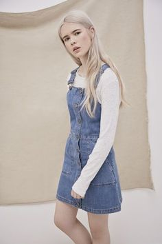 Effortless Spring Essentials Cooperative Denim Dungarees in Blue Fashion Guys, Fashion Models, Womens Fashion, Mode Outfits, Fall Outfits, Summer Outfits, Casual Outfits, Denim Dungaree Dress, Denim Dungarees