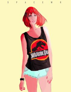 Hipster-Fusion Claire Dearing from Jurassic World. Jurassic World, Claire Dearing, Cute Ginger, Bryce Dallas Howard, World Movies, Prehistoric Animals, Pop Culture, Illustration Art, Fan Art