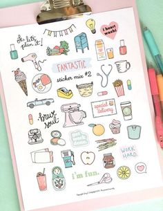 30 Super Cute How To Doodles For Your Bullet Journal Planner Bullet Journal, Bullet Journal Notebook, Bullet Journal Ideas Pages, Bullet Journal Inspiration, Planner Doodles, Happy Planner, Life Planner, Cute Stickers, Sticker Paper