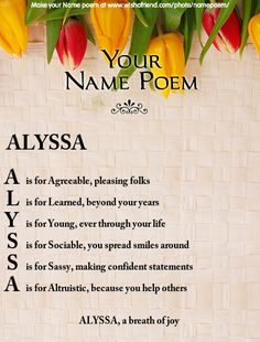 Share your name poem with photo on Facebook