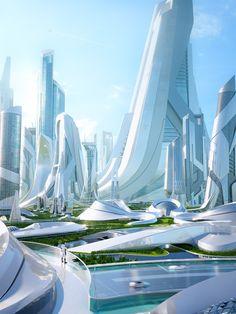 Ville Cyberpunk, Cyberpunk City, Futuristic City, Futuristic Technology, Futuristic Design, Futuristic Architecture, Amazing Architecture, Fantasy City, Fantasy Places