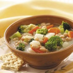 Bean Vegetable Soup Recipe- Recipes  Beans add extra texture and flavor to this vegetable soup. This soup is light in calories yet packed with flavor. —Bean Education and Awareness Network, Scottsbluff, Nebraska