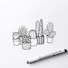 plants doodle simple & plants doodle - plants doodles bullet journal - plants doodle art journals - plants doodle step by step - plants doodle art - plants doodle simple - plants doodles flowers Cactus Drawing, Plant Drawing, Cactus Art, Painting & Drawing, Cactus Plants, Tall Plants, Hanging Plants, Doodle Drawings, Easy Drawings