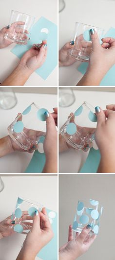 An easy peasy way to make polka dot glasses--use vinyl and a round paper punch. Pink and green dots anyone?