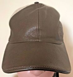 24cb1414f8f4 Mens Gucci Brown And Beige Leather And Fabric Baseball Hat Cap Size X-Large