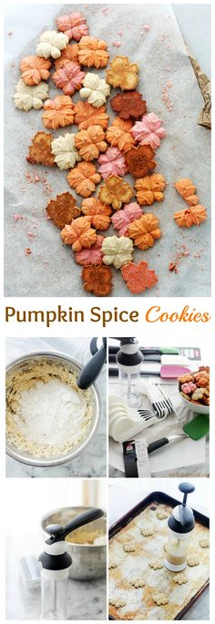 Buttery and delicious spritz cookies flavored with everyone's Fall-favorite, pumpkin spice! They really a Buttery and delicious spritz cookies flavored with everyone's Fall-favorite, pumpkin spice! Spritz Cookie Recipe, Spritz Cookies, Cookie Flavors, Cookie Desserts, Yummy Cookies, Cupcake Cookies, Cookie Recipes, Candy Recipes, Cupcakes
