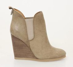 """Coach Beige Distressed Leather """"Farah"""" Wedge Ankle Boots"""