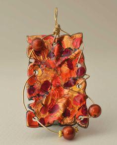 Orange Wire Wrapped Friendly Plastic Pendant