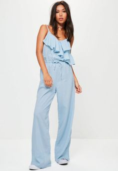 Get frilly with it! This jumpsuit is at the top of our lust-list - with a wide leg, light blue hue, frill detailing and adjustable cami straps. You'll be turning heads for all the right reasons!