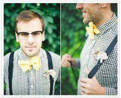 bow tie and suspender groom's wardrobe