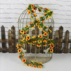 2x artificial sun#flower #garland silk #small #flower vine for wedding decor,  View more on the LINK: http://www.zeppy.io/product/gb/2/181993750437/